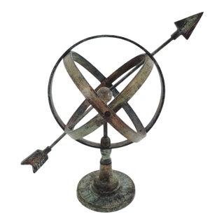 Vintage Brass Verdigris Armillary Sculpture For Sale
