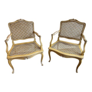 Mid 20th Century French Louis XV Cane Seat and Back Fauteuil Arm Chairs - a Pair For Sale