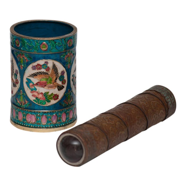 Vintage Peking Brush Pot & Kaleidoscope For Sale