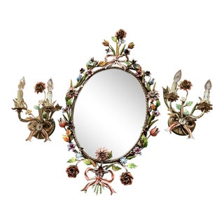 1950s Italian Tole Floral Mirror Set With Sconces - Set of 3 For Sale