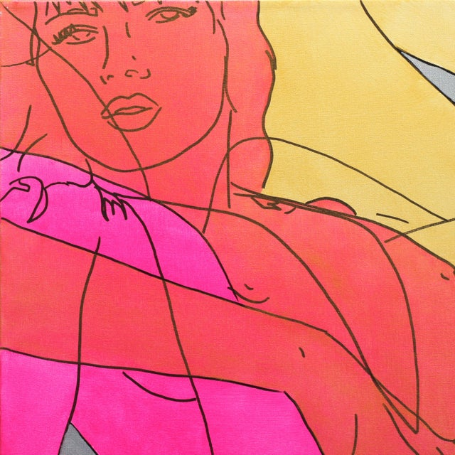In bold, acrylic line paintings, US artist Hilary Bond depicts the heads and torsos of women, often repeating the image in...