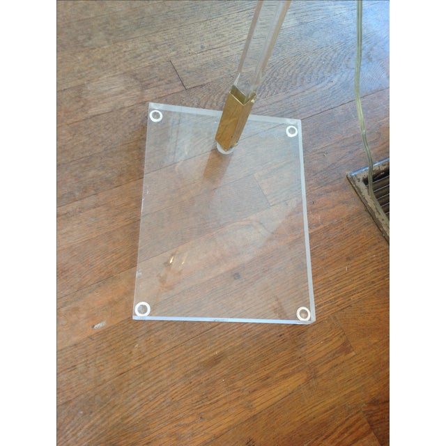 Vintage Lucite and Brass Floor Lamp - Image 4 of 5