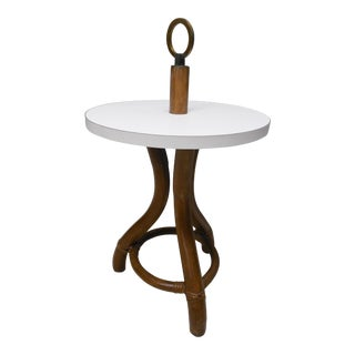 Ficks Reed Vintage Bamboo Rattan Round Accent Table For Sale