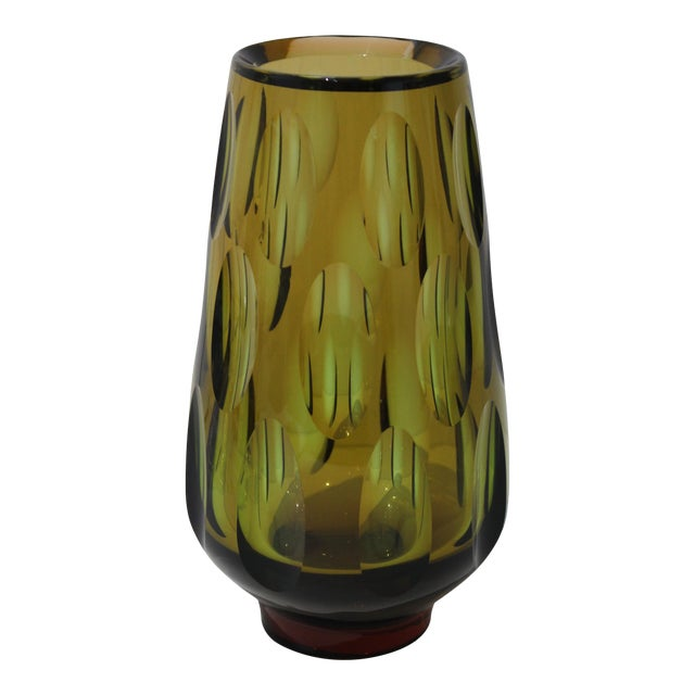 Mid-Century Modern Swedish Vase With Optic Ovals - Smokey Olive Green For Sale