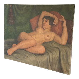 1920s Vintage Reclining Nude French on Canvas Oil Painting For Sale