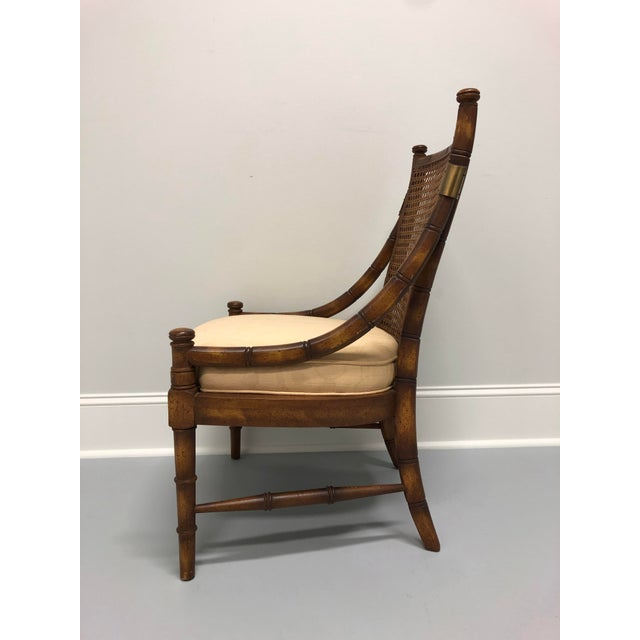 Vintage Mid Century Faux Bamboo Caned Lounge Chair For Sale In Charlotte - Image 6 of 12