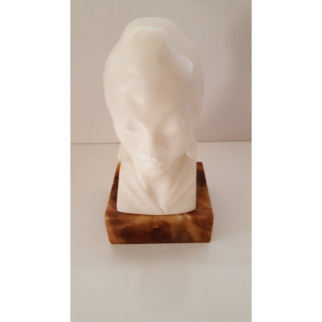 Asian, Vintage Alabaster Male and Female Bust Sculptures - a Pair For Sale In Phoenix - Image 6 of 10