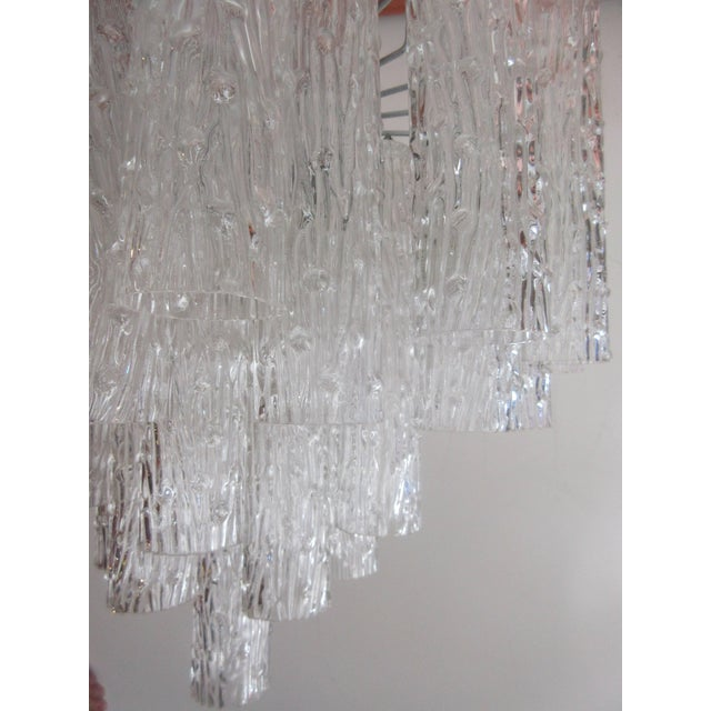 "Mid-Century Modern Venini ""Tronchi"" 40 Crystal Chandelier For Sale - Image 3 of 8"