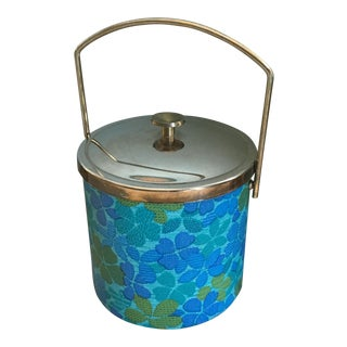 1960s-70s Blue and Green Floral Ice Bucket For Sale