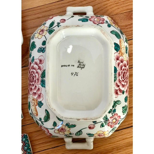 Hand Painted Ceramic Lidded Tureen With Under Plate & Ladle For Sale - Image 9 of 12