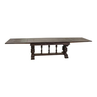 Grand Antique Renaissance Draw Leaf Banquet Table For Sale