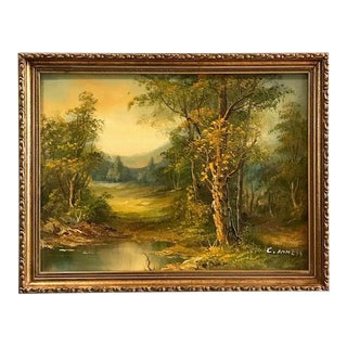 Early 20th Century Antique C. Inness Landscape Painting For Sale