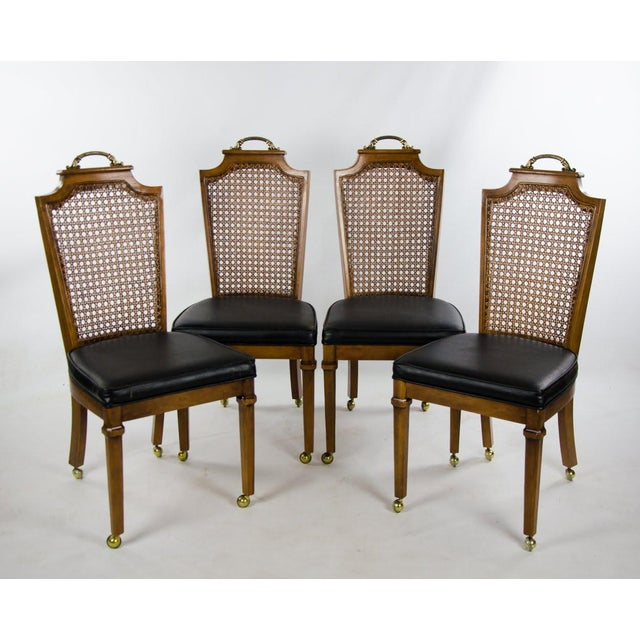 Late 19th Century French Regency Style Caned Back and Vinyl Dining Chairs - Set of 4 For Sale - Image 13 of 13