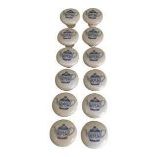 20th Century Shabby Chic Ceramic Knobs - Set of 12 For Sale