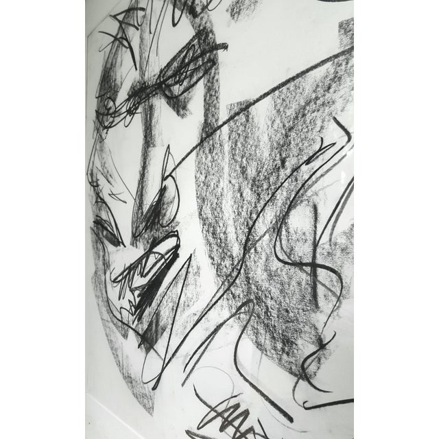 Modern Original Abstract Charcoal Faces Drawing For Sale - Image 3 of 6