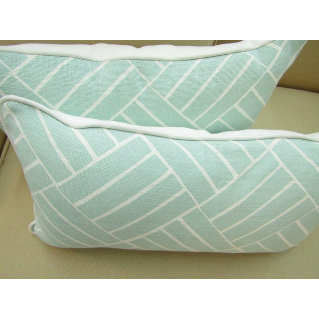 2010s Contemporary Pattern Lumbar Pillows in Seafoam - a Pair For Sale - Image 5 of 6