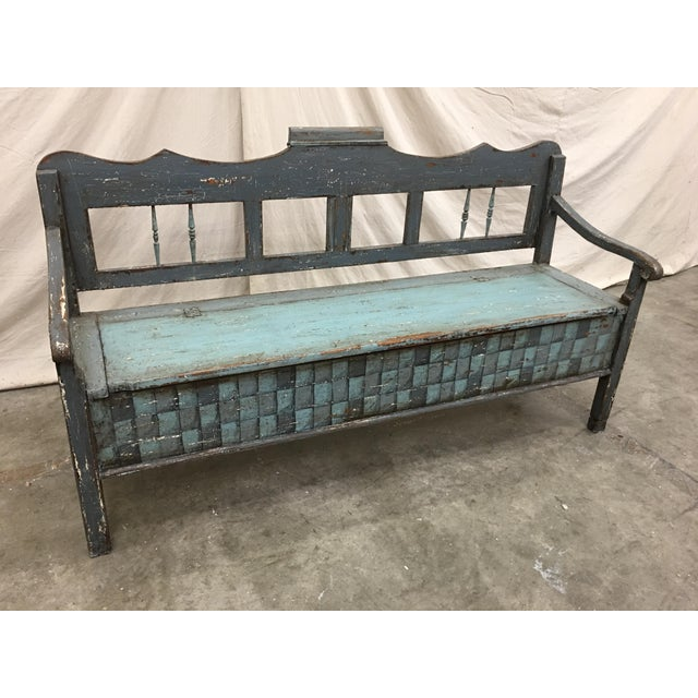 Late 19th Century 19th C Scandinavian Painted Hall Bench With Storage For Sale - Image 5 of 11