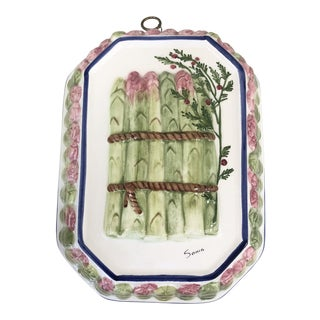 Majolica Porcelain Asparagus Wall Hanging For Sale