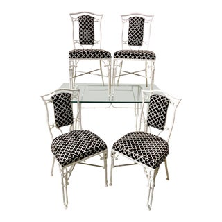 Chinese Chippendale Patio Dining Set For Sale