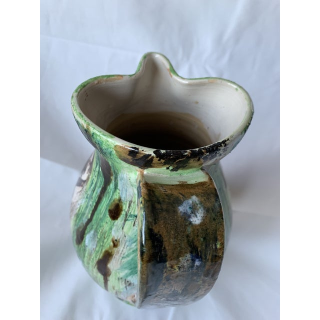 Vintage Italian Pottery Hand Painted Face Pitcher Vase For Sale - Image 9 of 13
