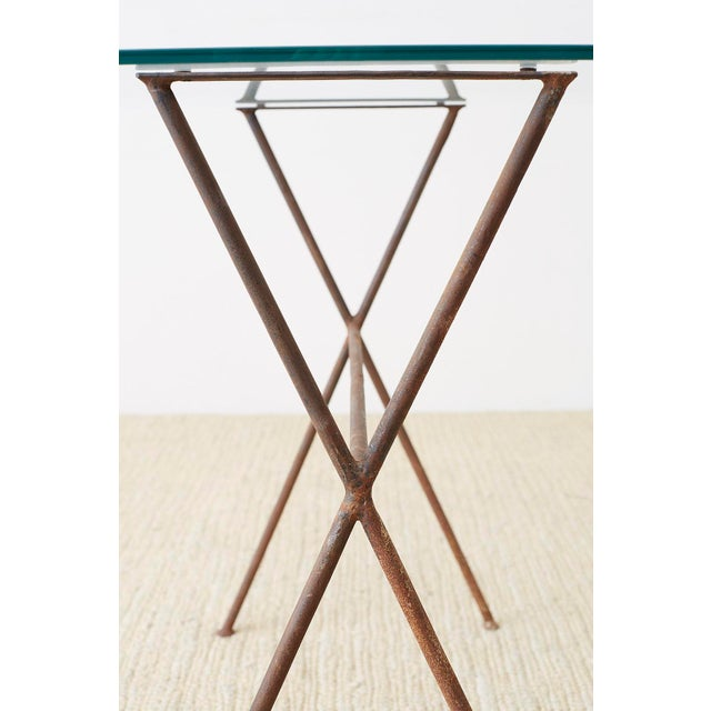 Midcentury Glass Table With Iron X Form Sawhorse Legs For Sale In San Francisco - Image 6 of 13