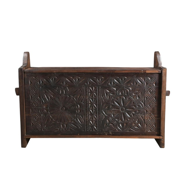 Tribal Wooden Carved Trunk - Image 1 of 7