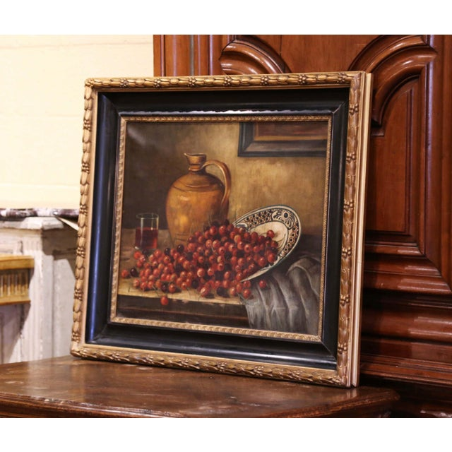 Hand painted in France circa 1880 and set in the original carved two-tone giltwood and blackened frame, the large art work...