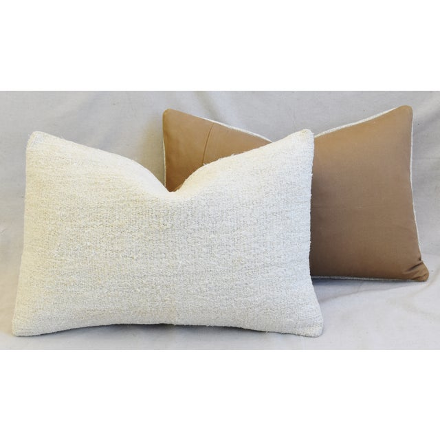 "Cotton Neutral Organic Hemp/Cotton Kilim Feather/Down Pillows 24"" X 16"" - Pair For Sale - Image 7 of 8"