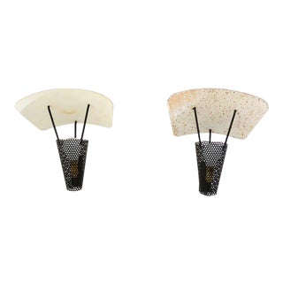 Mid-Century Modern Pair of French Wall Sconces, Jacques Biny For Sale