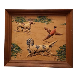Mid Century Hunting Scene Bird Dogs and Pheasant Three Dimensional Fabric Art in Original Frame For Sale