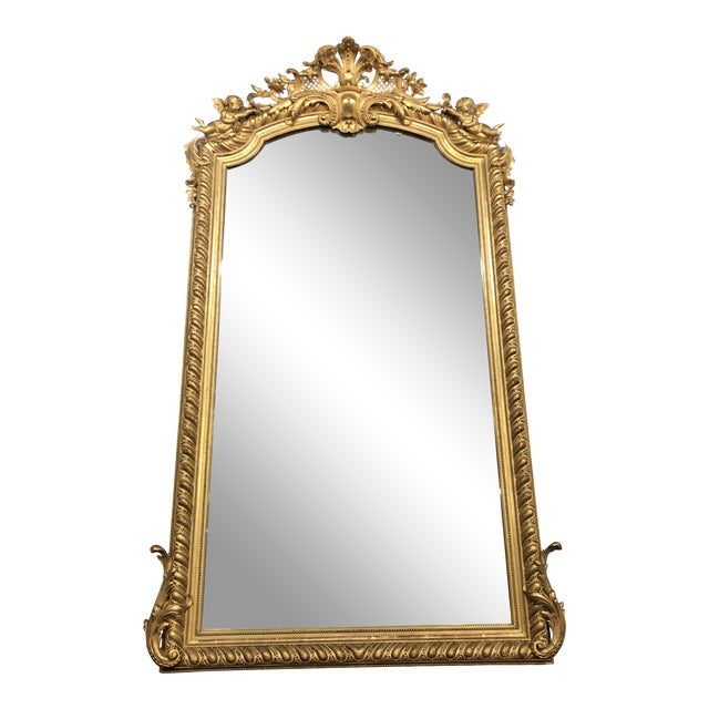 19th Century French Napoleon III Gold Leaf Mirror For Sale