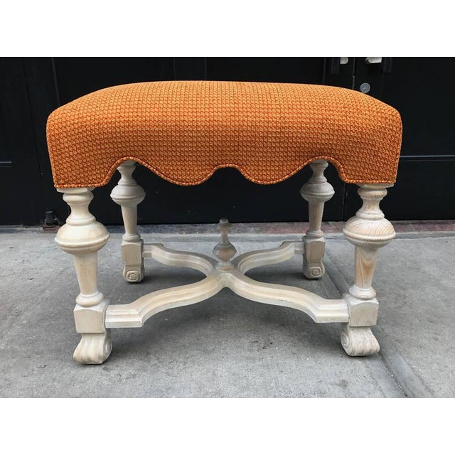 Pair of Hollywood Regency cerused benches.