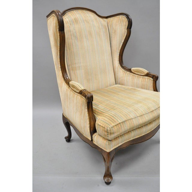 Vintage Ethan Allen Queen Anne Wingback Chairs - A Pair For Sale - Image 5  of - Vintage Ethan Allen Queen Anne Wingback Chairs - A Pair Chairish