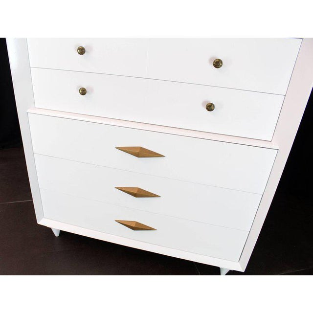 Mid-Century Modern 1970s Mid-Century Modern White Lacquer Deco High Chest Dresser With Diamond Pulls For Sale - Image 3 of 11