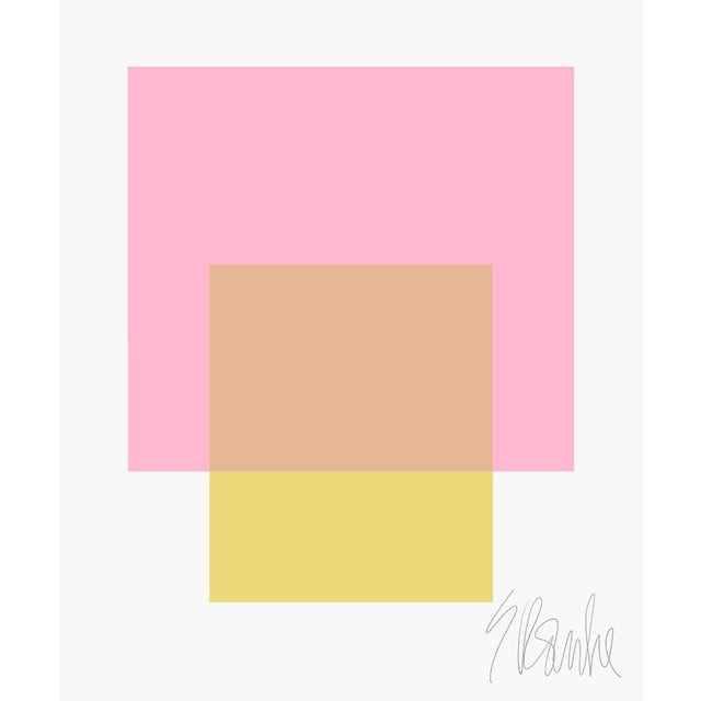 """The Interaction of Light Pink and Celery Green Fine Art Print 45"""" X 55"""" by Liz Roache For Sale In Boston - Image 6 of 6"""