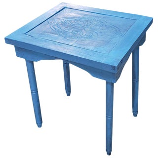 Moroccan Hand Carved Turquoise Square Wooden Side Table For Sale