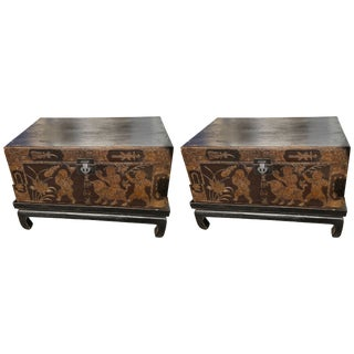 Chinese Trunks With Stands Tables - a Pair For Sale