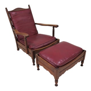 Stickley Colonial Early American Chair and Ottoman Footstool For Sale