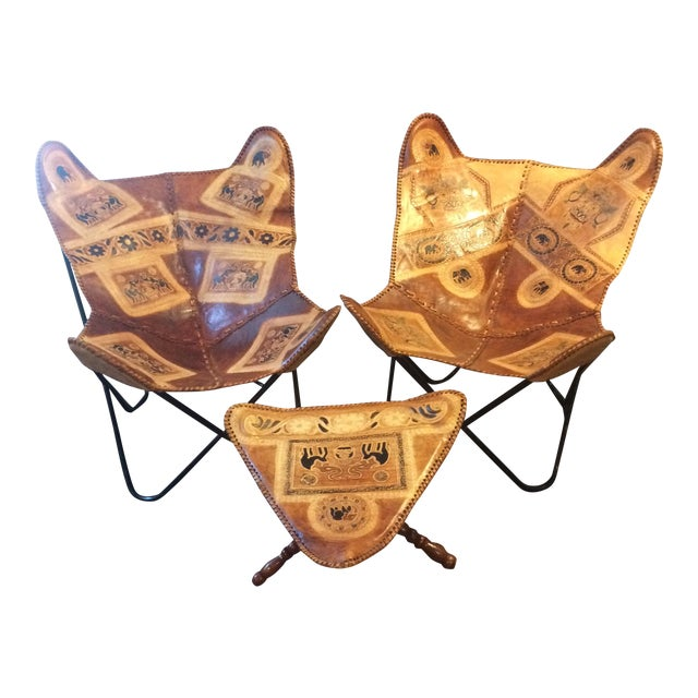 Vintage Leather Butterfly Chairs & Ottoman - Set of 3 - Image 1 of 10