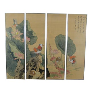 Japanese Silk Paintings -Set of 4 For Sale