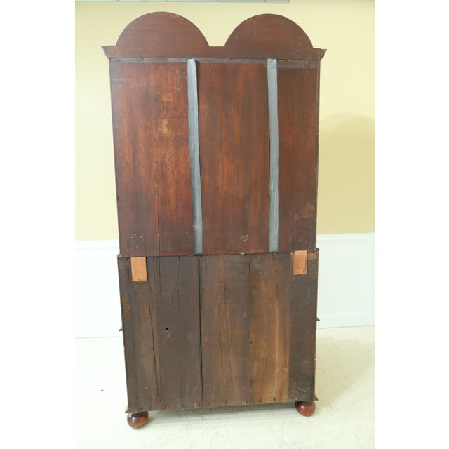 English Made Vintage George III Double Bonnet Walnut Secretary Desk For Sale - Image 10 of 13