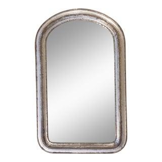 19th Century Curved Corner Silver-Leaf Mirror For Sale