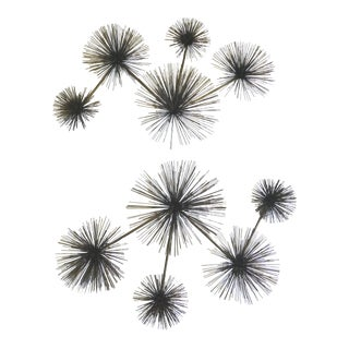 70's Curtis Jere Large Pom Pom Sea Urchin Brass Wall Sculptures - A Pair For Sale