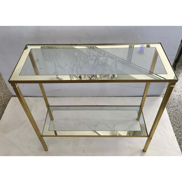 Mid-Century Modern Mastercraft Style Brass Console Table For Sale - Image 3 of 13