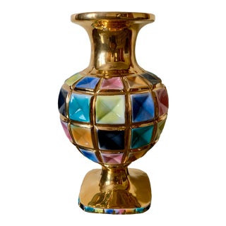 Vintage Mid Century Italian Gold & Colored Vase, Signed For Sale