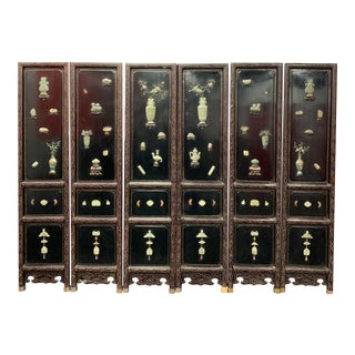 Late 19th Century Chinese Six Panel Carved Wood and Lacquered Coromandel Screen With Jade Stone For Sale