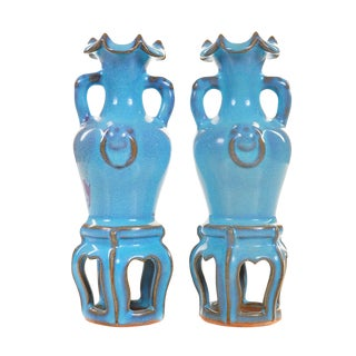 19th C. Chinese Chin Dynasty Blue Vases - a Pair For Sale