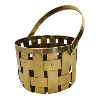 Contemporary Woven Brass Handle Basket For Sale