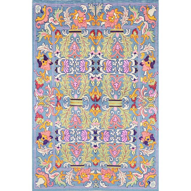 1990s Vintage Handwoven Area Rug- 6′8″ × 9′7″ For Sale