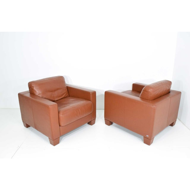 Model DS-17 in saddle/cognac leather. Beautiful Condition. We have four and are offering in pairs. Legs screw on.